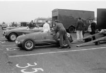 Ferrari 166 V12 . David Murray's car with Ecosse Jaguar and Wilkie at Winfield 1951